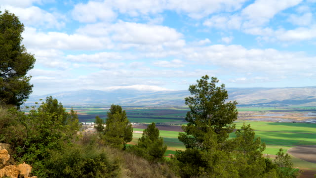 Time Lapse of winter clouds over the Hulla Valley, near the Jordan river, Israel