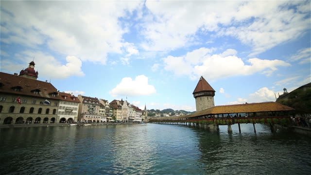 Time lapse of wooden bridge in Lucerne