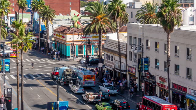 time lapse of world famous hollywood boulevard district in los angeles, california, usa - boulevard stock videos & royalty-free footage