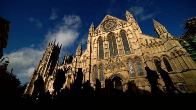 time lapse of york minster, york, england, uk - yorkshire england stock videos & royalty-free footage