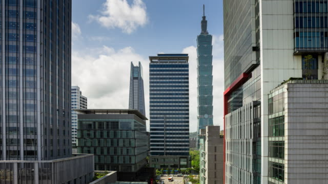 time lapse office towers in taipei, taiwan with dramatic cloud movement - taipei stock videos & royalty-free footage