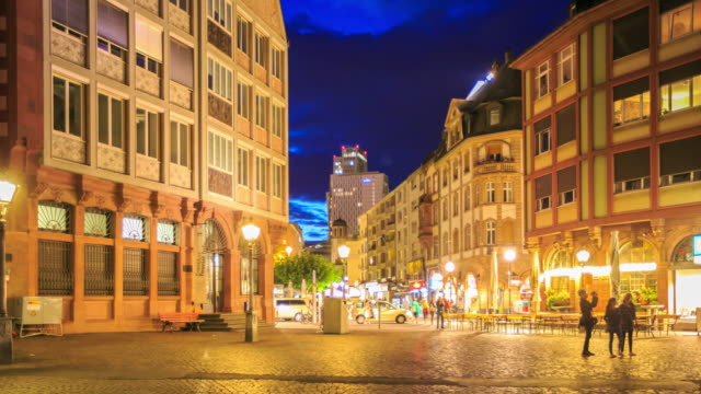 4k time lapse : old town in frankfurt - römerberg stock videos and b-roll footage