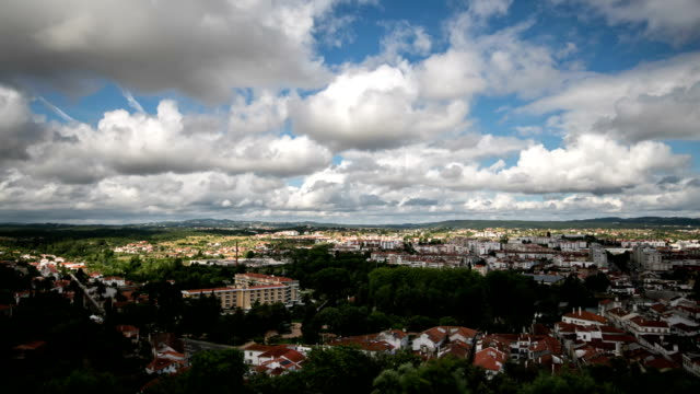 time lapse : old town of tomar, portugal - roof tile stock videos & royalty-free footage