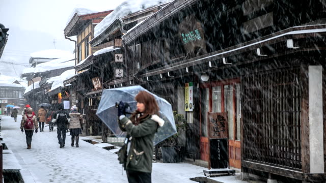 hd time lapse : old town yamanouchi - nagano prefecture stock videos & royalty-free footage