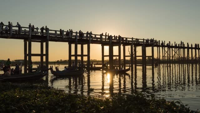 4k time lapse :  old u bein bridge in mandalay myanmar - myanmar stock videos and b-roll footage
