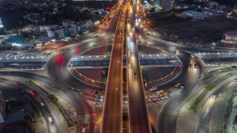 4k time lapse or hyper lapse : aerial top view traffic on the road for transportation or futuristic background. - hyper lapse stock videos & royalty-free footage