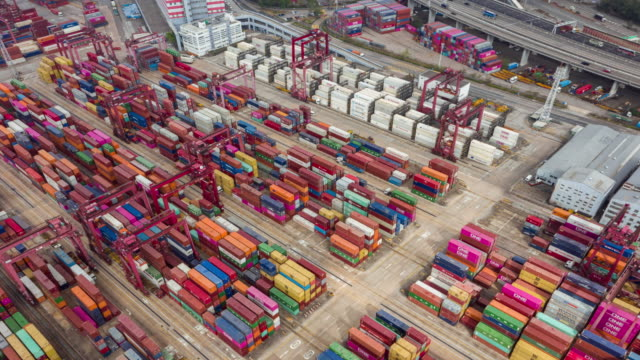 4k time lapse or hyper lapse : terminal commercial port or container warehouse with hong kong cityscape for business logistics, import export, shipping or transportation - freight elevator stock videos & royalty-free footage