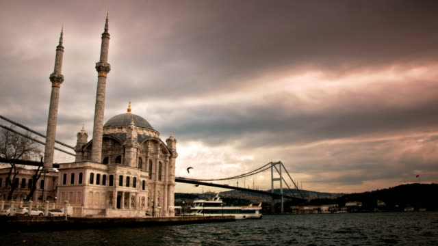 time lapse: ortakoy and bosphorus - ortakoy mosque stock videos and b-roll footage