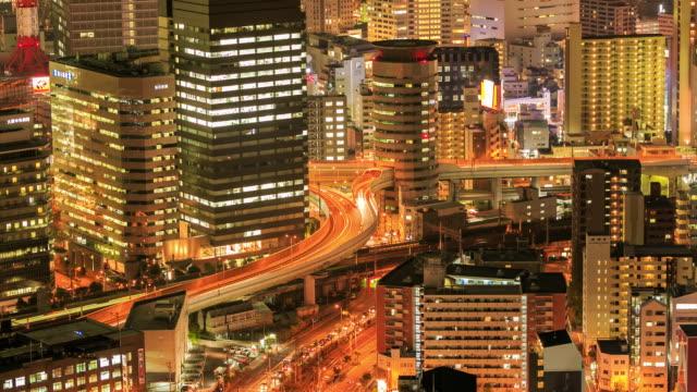 Effet Time-Lapse 4k : Osaka, Japon au coucher de soleil
