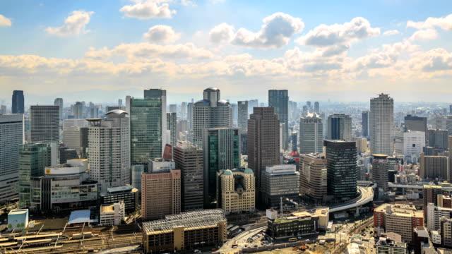 hd time lapse : osaka, japan city skyline - osaka stock videos and b-roll footage