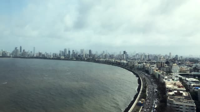 time lapse over marine drive, mumbai - india - modern stock videos & royalty-free footage
