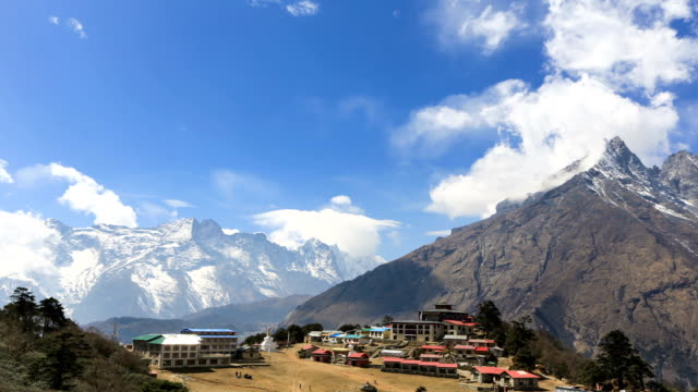 Time lapse over Tengboche monastery in Nepal