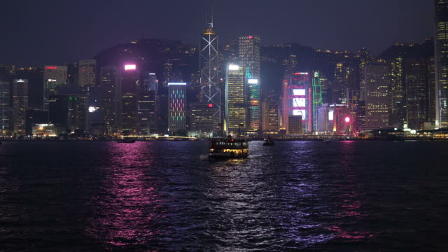 Time lapse over Victoria harbor in Hong Kong