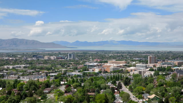 time lapse overlooking provo towards utah lake - provo stock-videos und b-roll-filmmaterial