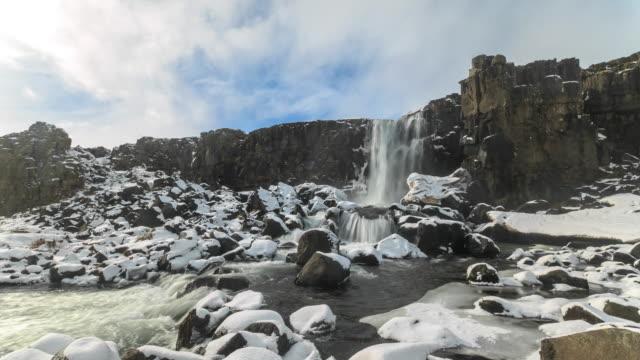 4K Time Lapse : Oxarafoss waterfall