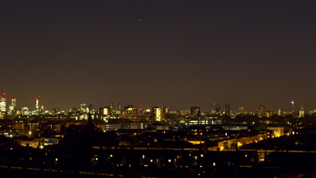 ws time lapse pan across r to l  london at night - 2014 stock videos & royalty-free footage