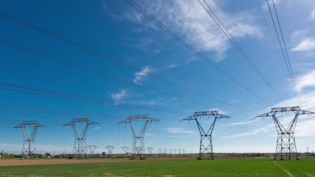 Time lapse pan of power lines and pylons