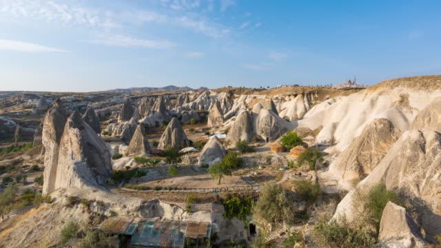 vidéos et rushes de time lapse : panorama paysages rocheux anciennes maisons troglodytes près de goreme, cappadoce, turquie - vallée