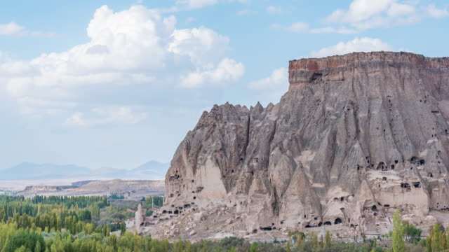 time lapse: panoramic  ancient cave houses near goreme, cappadocia, turkey - cliff dwelling stock videos & royalty-free footage