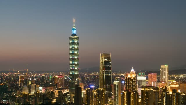4k time lapse : panoramic  cityscape famous tower in city taipei, taiwan - taipei 101 stock videos and b-roll footage