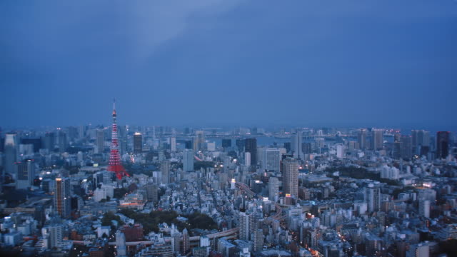 WS, Time lapse, panoramic view of Tokyo at dusk
