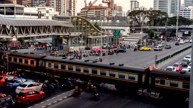 time lapse panoramic views of bangkok transportation. cars and railroad car. - bangkok stock videos & royalty-free footage