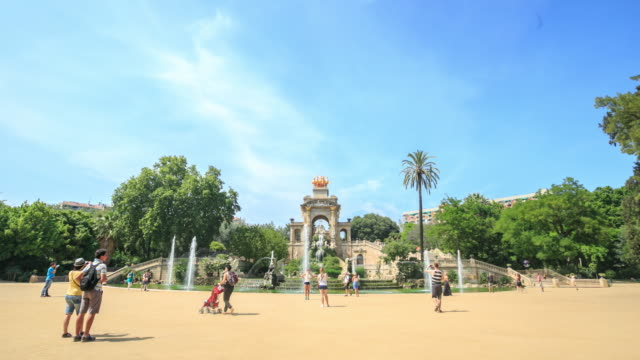 4k time lapse :park citadel in barcelona, spain. - minorca stock videos & royalty-free footage