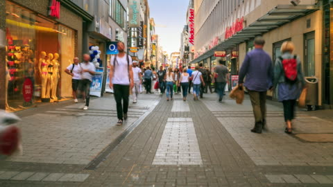 4k time lapse : pedestrian crowded at shopping zone - pedestrian zone stock videos & royalty-free footage