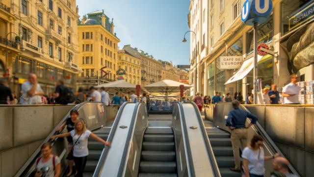4K Time Lapse : Pedestrian Crowded Kartner shopping street Vienna at subway station in Vienna, Austria