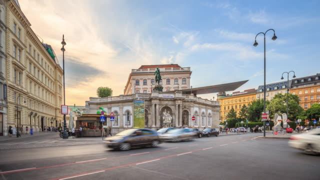 4K Time Lapse : Pedestrian Crowded Kartner shopping street Vienna Austria dusk