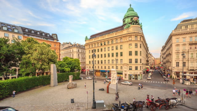 4k time lapse : pedestrian crowded kartner shopping street vienna austria dusk - vienna austria stock videos & royalty-free footage