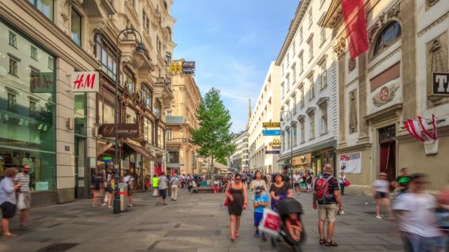 4K Time Lapse : Pedestrian Crowded Kartner shopping street Vienna