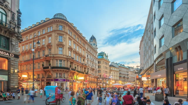 4k time lapse : pedestrian crowded kartner shopping street vienna - austrian culture stock videos & royalty-free footage