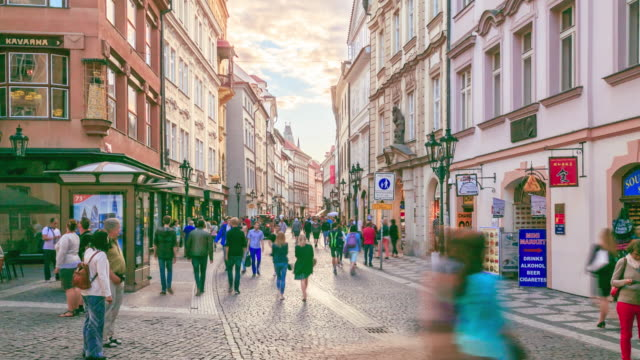 4k time lapse : pedestrian crowded lesser town mala strana - mala strana stock videos and b-roll footage