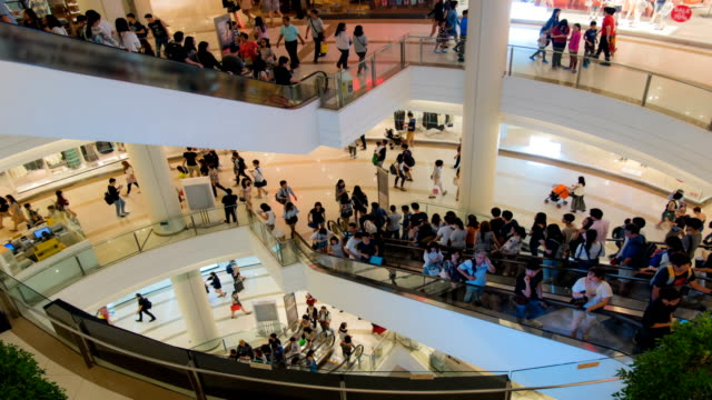 hd time lapse : pedestrian in the shopping mall - fast motion stock videos & royalty-free footage