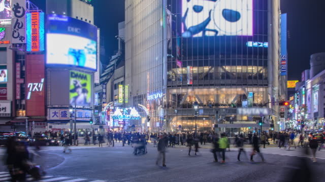 Time lapse: Pedestrians cross at Shibuya Crossing in Tokyo , Japan .