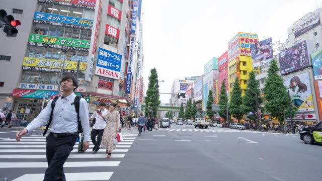 time lapse pedestrians walking at zebra crossing akihabara district, tokyo, japan. - akihabara stock videos and b-roll footage
