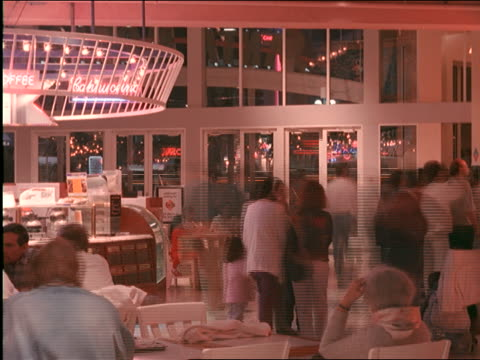 time lapse people at food court in L.A. shopping mall