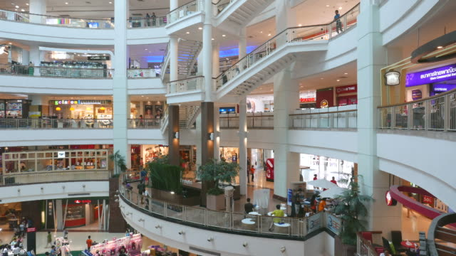 Time lapse people in shopping mall market
