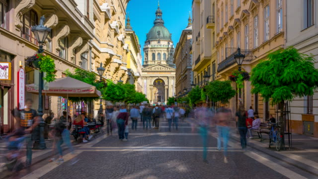 time lapse people tourist walking in front of st. stephen's basilica, budapest hungary - traditionally hungarian stock videos & royalty-free footage