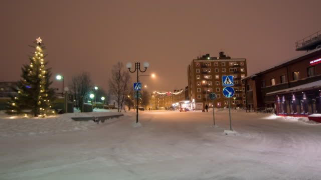 4K Time Lapse : People Traveling In Kiruna City At Night In Winter