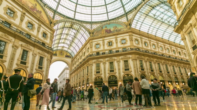 time lapse: people walk on galleria vittorio emanuele ii seen from above of the most popular shopping areas in milan. - museum stock videos & royalty-free footage