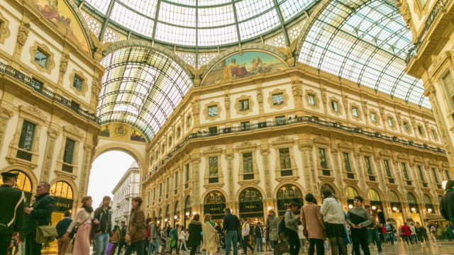 time lapse: people walk on galleria vittorio emanuele ii seen from above of the most popular shopping areas in milan. - haute couture stock videos and b-roll footage