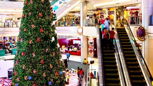 hd time lapse, people with escalator in shopping mall - physical pressure stock videos and b-roll footage