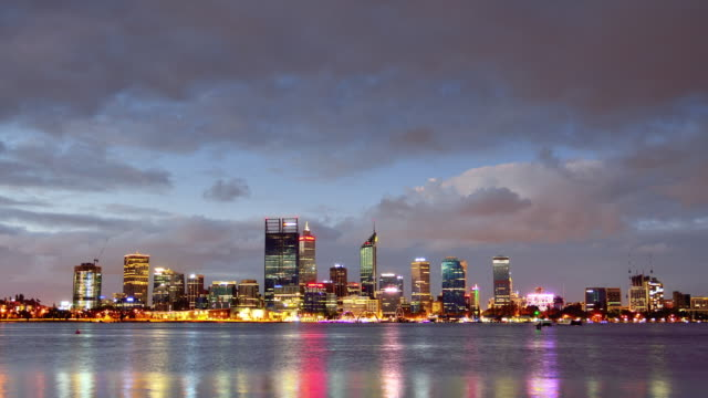 4K Time lapse: Perth Skyline From Day to Night, Australia (Zoom Out)