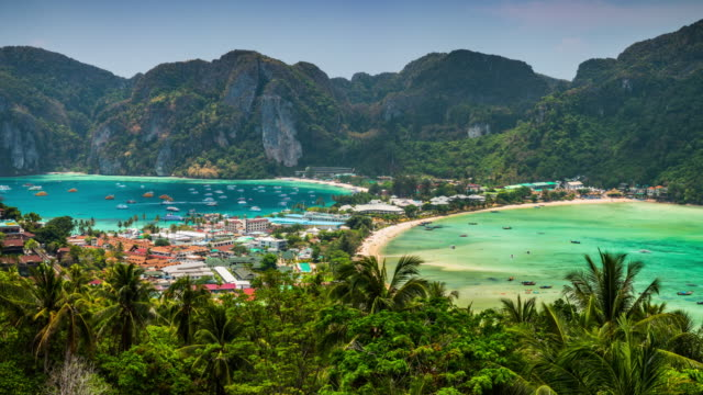 time lapse: phi phi islands in thailand - krabi province stock videos & royalty-free footage