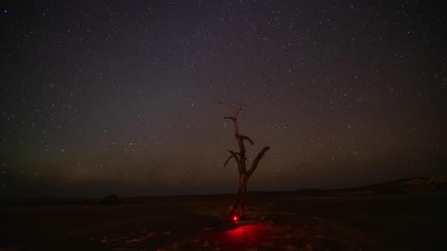 vidéos et rushes de ws time lapse photographer mise en place caméra sous le ciel étoilé de nuit, namibie, afrique - lampe frontale