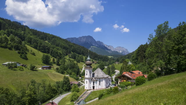Time Lapse. Pilgrimage church Maria Gern near Berchtesgaden.