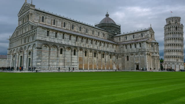 time lapse: pisa cathedral (duomo di pisa) in square of miracles in pisa, italy - pisa cathedral stock videos & royalty-free footage