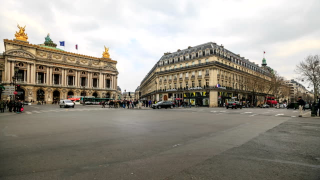 hd time lapse : plaza opera in paris - national landmark stock videos and b-roll footage